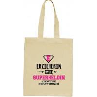 ShirtStreet Geburtstags - Jubiläums - Abschiedsgeschenk natur Jutebeutel Stoffbeutel Erzieherin - Superheldin Größe onesize natur Schuhe & Handtaschen
