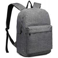 Kono Rucksack Schule Unisex Leichten Canvas Backpack für Reise Wandern Schulrucksack mit 15.4 Zoll Laptopfach 22 Liters Grau Koffer Rucksäcke & Taschen