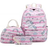MCWTH 3in1 Einhorn Schulrucksack Mädchen Teenager Regenbogen und Kühltaschen und Mäppchen Rosa Koffer Rucksäcke & Taschen