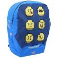 LEGO Bags Kindergarten Rucksack Faces Leichter Kinderrucksack Vorschulrucksack mit Lego Motiv Kita Rucksack blau mit großem Hauptfach Mesh Seitentasche Brustgurt und Namensschild innen Koffer Rucksäcke & Taschen