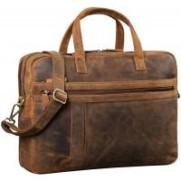 STILORD 'Conrad' Businesstasche Aktentasche Leder mit 15.6 Zoll Laptop-Fach Zweifachteilung Vintage Umhängetasche für Büro Arbeit Leder Tasche Farbemittel - braun Koffer Rucksäcke & Taschen