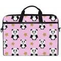 Panda Glitzer Sterne Pink Laptop Schultertasche Reise Aktentasche für Männer Frauen Business Tragbare Tragetasche Computer Laptop Handtasche für Notebook Tablet Koffer Rucksäcke & Taschen