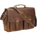Polare Herren-Aktentasche aus Vollnarbenleder 43 2 cm 17 Zoll mit YKK-Metall-Reißverschlüssen Koffer Rucksäcke & Taschen