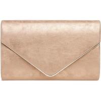 Caspar TA349 Damen elegante Clutch Tasche Abendtasche mit langer Kette Farberoségold GrößeOne Size Schuhe & Handtaschen