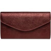 Caspar TA432 elegante Damen Clutch Tasche Abendtasche mit langer Kette Farbeweinrot GrößeOne Size Schuhe & Handtaschen