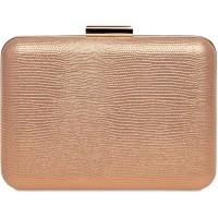 Caspar TA529 elegante Damen Snake Skin Box Clutch Tasche Abendtasche Farberoségold GrößeEinheitsgröße Schuhe & Handtaschen