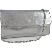 Freyday Echtleder Damen Clutch Tasche Abendtasche Muster Metallic 25x15cm Silber Metallic Schuhe & Handtaschen