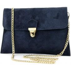 modamoda de - T206 - ital. Clutch aus Wildleder mit Goldkette FarbeDunkelblau Schuhe & Handtaschen