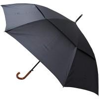 COLLAR AND CUFFS LONDON - XL 140 cm Bogen - Windproof - SEHR STARK - Verstärkt mit Fiberglas - StormDefender City - Ventilationsbezug - Automatik Stockschirm - Holz-Effekt Griff - Regenschirm Schwarz Koffer Rucksäcke & Taschen