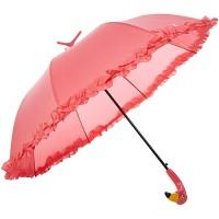 Esschert Design Regenschirm Flamingo mit Rüschen aus Pongee Seide ABS und Eisen 98 0 x 98 0 x 79 0 cm Koffer Rucksäcke & Taschen
