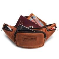 Hill Burry Echt-Leder Bauchtasche | Gürteltasche aus hochwertigem echtem Leder | Herren - Damen Wandertasche Hüfttasche | Partytasche Braun Koffer Rucksäcke & Taschen