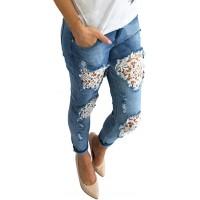 Ansenesna Jeans Damen Mit Löchern Spitze Elegant Hose Frauen Ripped Vintage Denim Hose Bekleidung