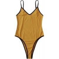 Floerns Women's Casual Rib Knit Spaghetti Strap V Neck Cami Bodysuit Jumpsuit Yellow XL Bekleidung