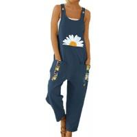 Lässige Jumpsuit-Hose für Damen Riemchen-Latzhose für Damen Baggy Overalls Bedruckte Retro-Hose aus Baumwolle Bekleidung