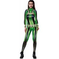 Leezeshaw Damen 3D My Hero Academia Digitaldruck Langarm Skinny Overall Kostüme Halloween Einteiler Bodysuit Bekleidung