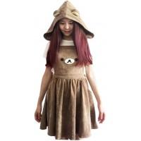 Black Sugar Latzhose braun Harajuku Rilakkuma Bear Bär Kapuze Kleid Tunika Mädchen Damen Bekleidung