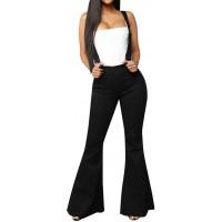 Cocila Damen Latzhose Jeans High Waist Stretch Damenjeans Engen Hohe Taille Jeans mit Träger Bodenlange Bell Bottom Loose Wide Leg Pants Bekleidung