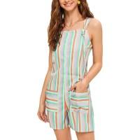 each women Damen Shorts Latzhose Damen Stretched Shorts Overalls Striped Print Spielanzüge Hosen Arbeit Lätzchen Bekleidung