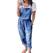 Minetom Jeanslatzhose Damen Denim Jeans Breites Bein Taschen Jeanshose Latzhose Denim Overall Hosen Jeans Jumpsuit Denim Fraizeithose Bekleidung