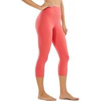 CRZ YOGA Damen Yoga Capri Leggings Sport Hose mit Hoher Taille-Nackte Empfindung -48cm Ziegelstein Rose 40 Bekleidung