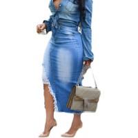 H&E Damen Jeansrock mit Quasten und hoher Taille mit Loch Bekleidung