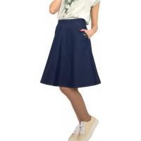 Lässiger Damen Rock knielang A-Line Denim Blau Größe EU 36 38 40 42 44 46 48 50 Bekleidung