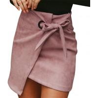 Lulupi Leder Minirock Damen Herbst Rock Elegant Kurz Rock Sexy Asymmetric High Waist Mini Röcke Unregelmäßig Skirt mit Tunnelzug Bekleidung
