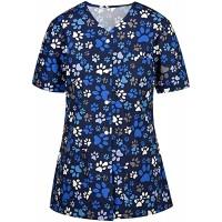 QIANDAN Uniform Damen Pflege Cartoon Print Bluse Bunt Motiv Arbeitskleidung Uniformen Pflegekleidung Kurzarm V Neck T-Shirt Schutzkleidung große größen Schlupfkasack Bekleidung