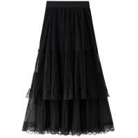 Ziemlich Langer Rock Kuchen Stil Tüll Röcke Spitze Schwarz Weiß Rosa Frauen Sommer Rock Black One Size Bekleidung