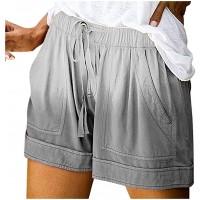 Allence Damen Shorts Sommer Kurze Hose Tie-Dye Frauen Spitze Hohl Einfarbig Crimpen Lose Strand Sport Hot Pants Bermuda Shorts Sommer Strandshorts mit Taillenband Bekleidung
