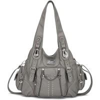 KL928 Damen Tasche Handtasche Schultertasche Umhängetaschen weiches PU leder Damenhandtasche Henkeltaschen Lederhandtasche Hobo taschen für Damen XS160199-grey Schuhe & Handtaschen
