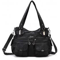 KL928 Tasche Damen Handtasche Umhängetaschen Damenhandtasche Schultertasche Lederhandtasche elegante Taschen hand taschen Henkeltaschen für frauen mit vielen fächern Black Schuhe & Handtaschen
