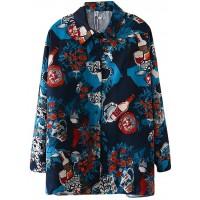 Yowablo Hemd Bluse Frauen Top Mode Retro Druck Langarm Revers lässig Bekleidung