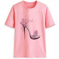 Yowablo Top T-Shirt Frauen Kurzarm High Heels Bedruckte Tops Beach Casual Loose Bluse Bekleidung