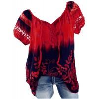 Damen Chiffon Bluse Kurzarm Locker T-Shirt Sommer Elegant Oberteile Floral Druck V Ausschnitt Tunika Hemdblusen Große Größen Shirt Blumen Tank-Top Bekleidung