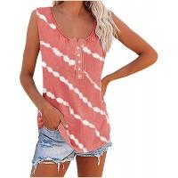 Damen Sommer O-Ausschnitt Tank Top T-Shirt Schwarz Und Weiß Tie-Dyed Stripe Printing Ärmellos Tops Knopfleiste Tunika Mode Blusen Strandtops Bekleidung
