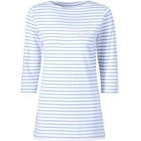CLINIC DRESS Longshirt Damen - Ringelshirt 3 4 Arm Stretch mit 95% Baumwolle für Krankenschwestern Ärztinnen und Pflegepersonal Bekleidung