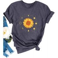 Dresswel Damen Mondzyklus Mondphasen Raum T-Shirt Kurzarm mit Rundhalsausschnitt Tee Sonnenblume Drucken Basic Shirt Sommer Oberteile Bekleidung