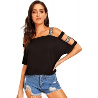 SOLY HUX Damen T-Shirts Cut Out Träger Oberteil Sommershirts Casual Tops Cold Scholder Tee Shirts Bekleidung