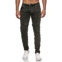 Megastyl Biker-Jeans Herren Hose Stretch-Denim Slim-Fit Zipper Destroyed Bekleidung