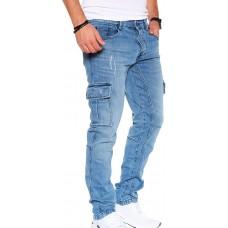 Styleko Herren Cargo Jeans Hose Herren Jeans Hose für Männer Jungen Regular Slim fit Denim Destroyed Jogger Freizeithose Casual Jeans Pants Jeans Herren Stretch| 7 Tasc 8004 Bekleidung