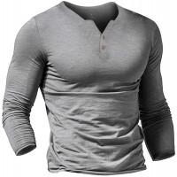 Herren Henley Beiläufig Kurzarm T-Shirt Single Taste Knopfleiste Einfacher V-Ausschnitt Hemden Baumwolle Bekleidung