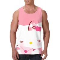 AZRtoys Hello Kitty Cartoon Herren Weste Rundhals Ärmellos Bequem und Tragbar Gym Sport Bekleidung