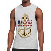 TYUHN Us Navy Chief Petty Officer Athletische Männer Essential Muscle Breathable Lightweight Top Ärmelloses T-Shirt Schwarz Bekleidung