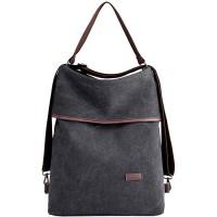 PB-SOAR 3-in-1 Damen Vintage Canvas Tasche Rucksack Handtasche Schultertasche Rucksackhandtasche Tragetasche Freizeittasche Vielseitige Tasche Schwarz Schuhe & Handtaschen