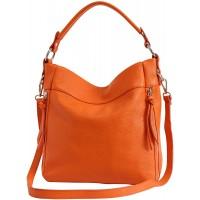 AmbraModa GL030 - Damen echt Ledertasche Handtasche Schultertasche Beutel Umhängtasche Orange Schuhe & Handtaschen