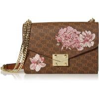 KARL LAGERFELD Paris Damen CORINNE MD SIGNATURE FLAP SHOULDER BAG Umwandelbare Schultertasche Braun Khaki Floral Einheitsgröße Schuhe & Handtaschen