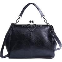 LUI SUI Frauen Retro Handtasche PU Leder Geldbörse Vintage Top Griff Tasche Kiss Lock Crossbody Umhängetasche für Damen Schuhe & Handtaschen