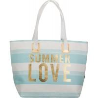 Bari BRANDSSELLER Strandtasche Sommer Love Damen Schultertasche Shopper Sommer Tasche Druckknopf Verschluss Größe 54x18x35 cm - Hellblau Schuhe & Handtaschen