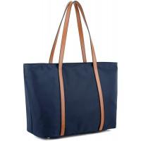YALUXE Shopper Tasche Damen Oxford Echtleder Nylon Umhängetasche mit großer Kapazität Blau2 Schuhe & Handtaschen